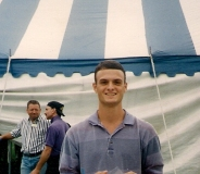 Me in front of the big top tent at TWI headquarters