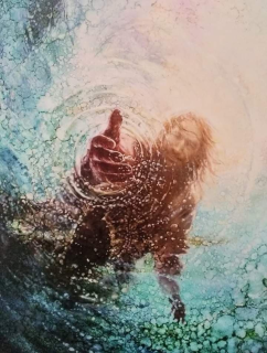 Jesus reaching into the water